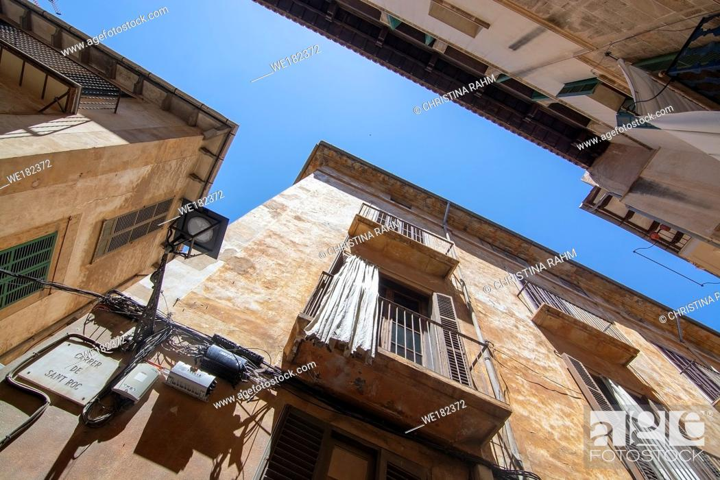 Stock Photo: Old Town architecture against blue sky on a sunny day in Palma, Mallorca, Spain.