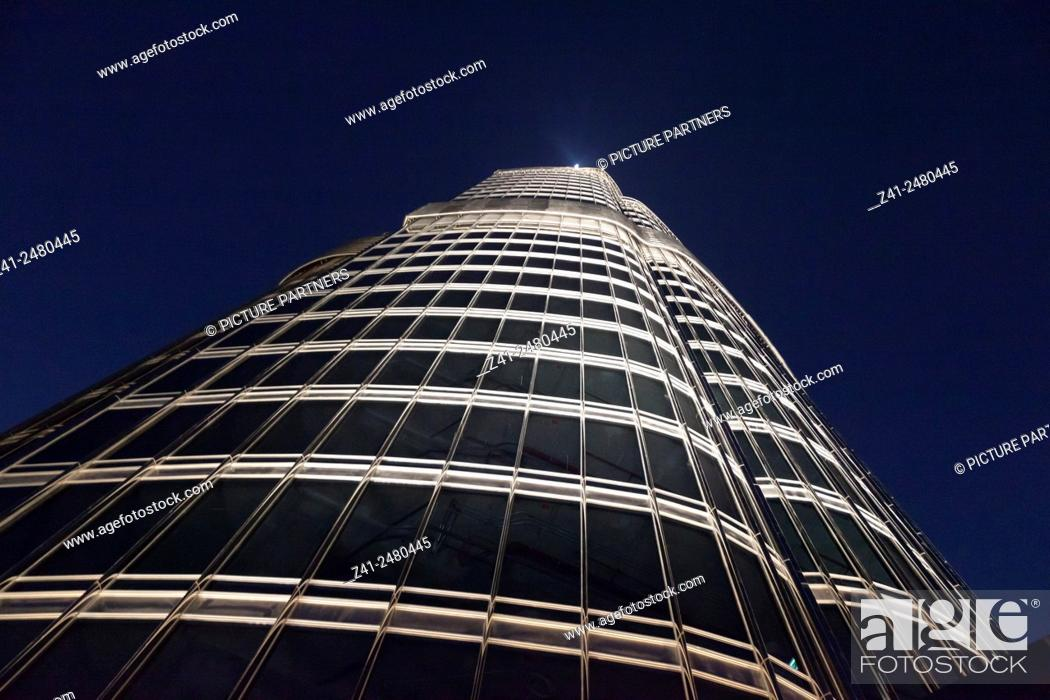 Stock Photo: Dubai Burj Khalifa seen from below at nighttime.
