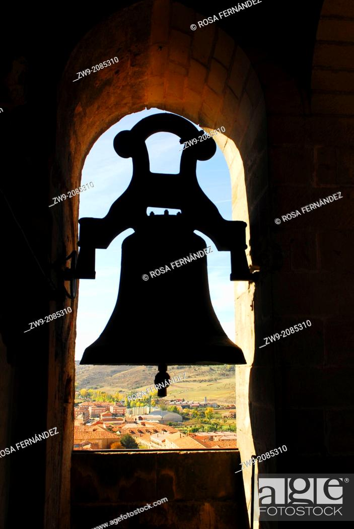Photo de stock: Silhouette of a small bell, Bell Tower in the cathedral of Siguenza, province of Guadalajara, Castilla La Mancha, Spain.