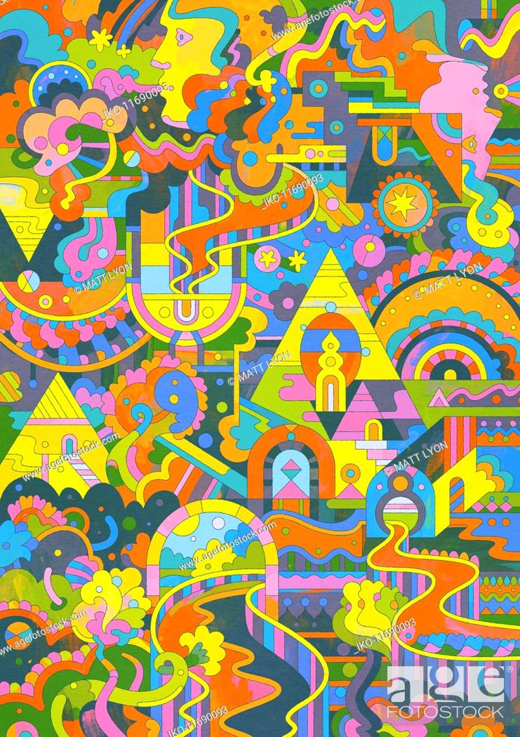 Photo de stock: Elaborate brightly coloured abstract pattern.