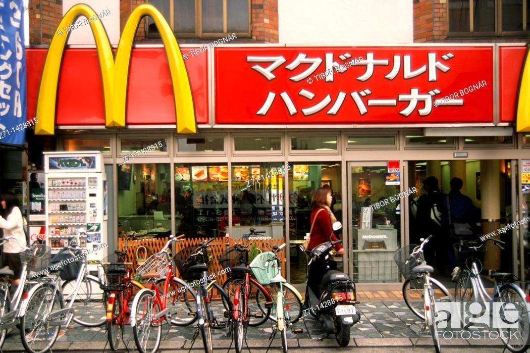 Stock Photo: Japan, Kansai, Nara, Japanese McDonald's restaurant,.