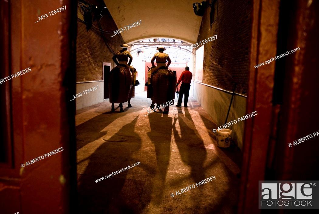 Stock Photo: Picadores, Las Ventas bullring, Madrid, Spain.