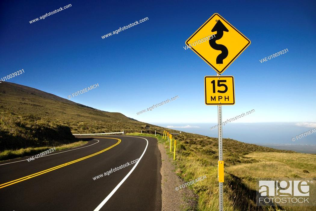 Stock Photo: Curvy road sign in Haleakala National Park, Maui, Hawaii.
