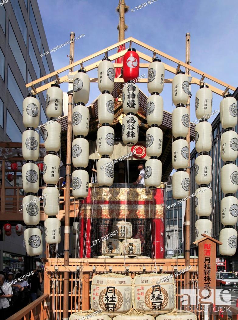 Stock Photo: Japan, Kyoto, Gion Matsuri, festival, float, paper lanterns,.