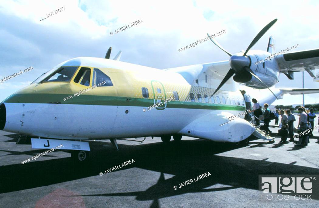 Stock Photo: Binter Aircraft at airport. La Palma. Canary Islands. Spain.
