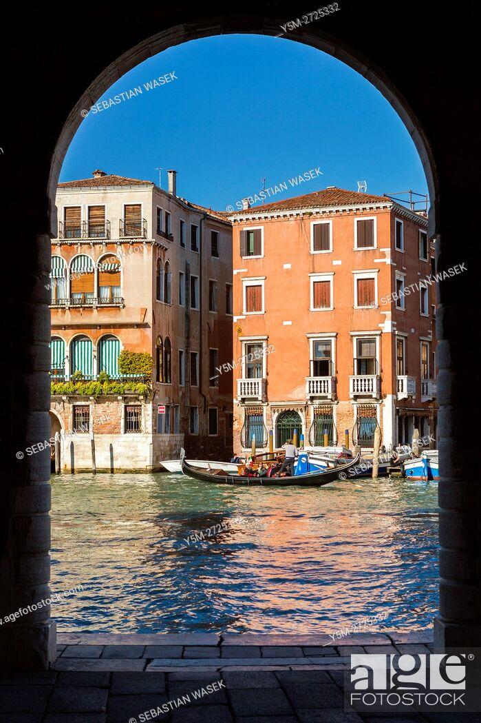 Stock Photo: Grand Canal seen from Rialto Market, Venice, Veneto, Italy, Europe.
