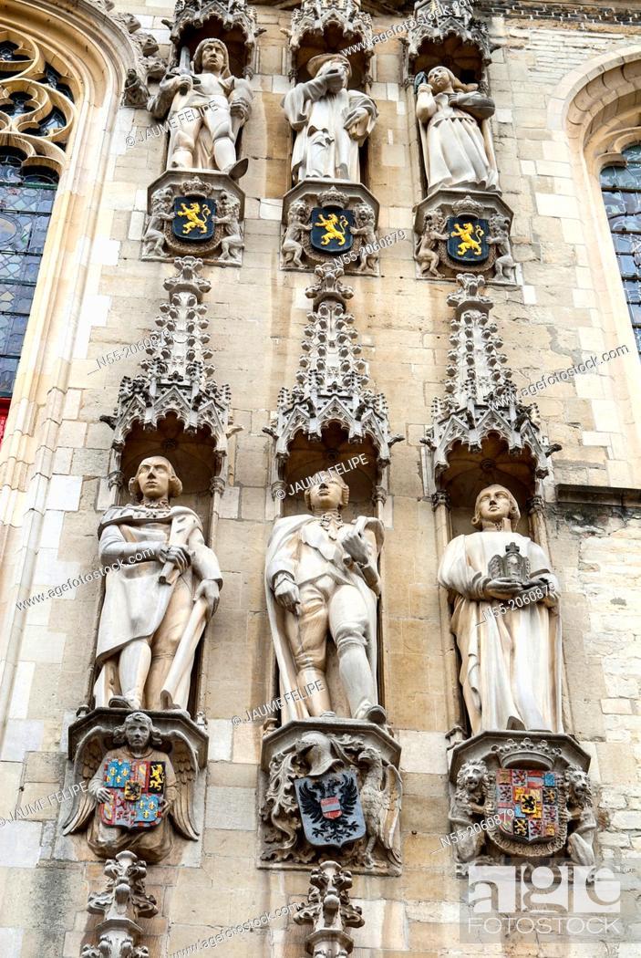 Stock Photo: City Hall Facade, Burg Square, Bruges, West Flanders, Belgium.