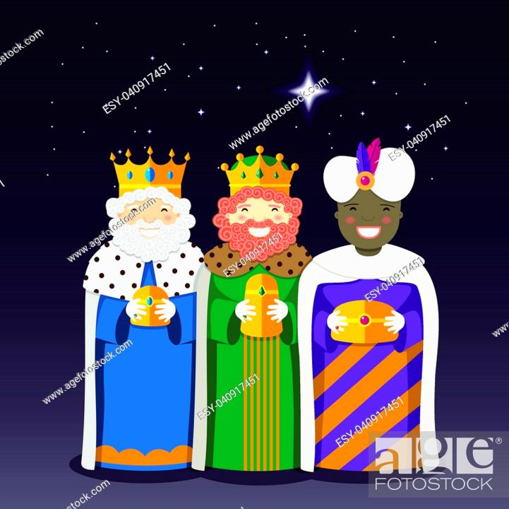 Stock Vector: The Three Kings with christmas star. Vector Illustration.