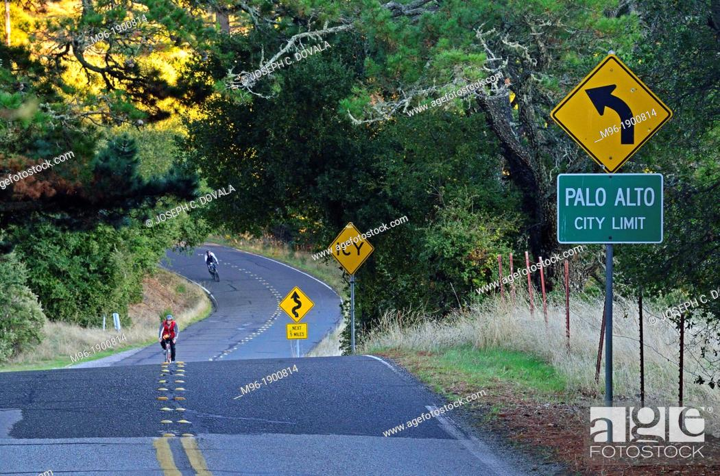 Stock Photo: Two lane highway entering Palo Alto, CA, USA, NMR.