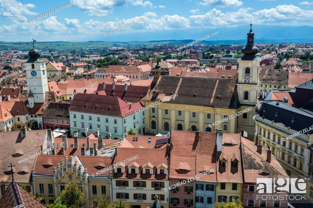 Stock Photo: Aerial view with Holy Trinity Church and Council Tower from Lutheran Cathedral of Saint Mary in Historic Center of Sibiu, Transylvania, Romania.