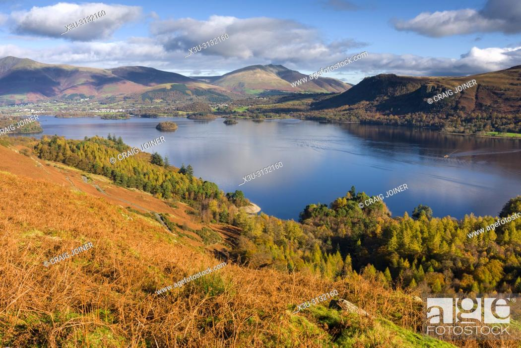 Stock Photo: View of Derwent Water from the eastern slope of Catbells in the Lake District National Park, Cumbria, England.