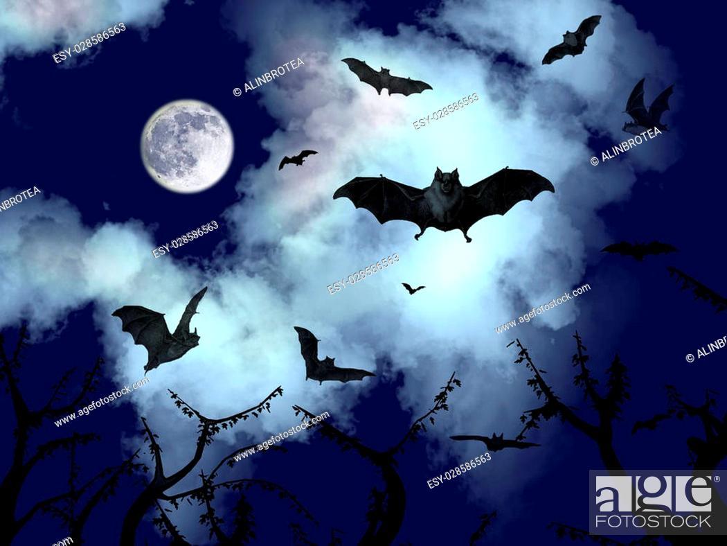 Imagen: Bats flying in the halloween night.