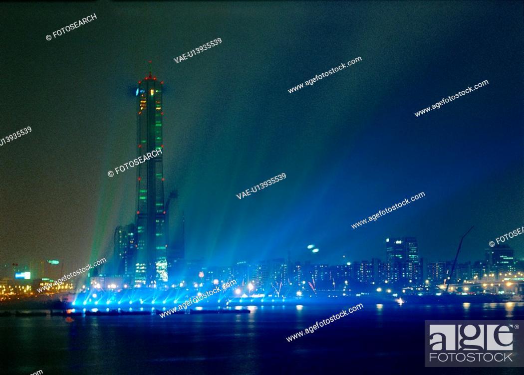 Stock Photo: city, building, landscape, scenery, light, night.