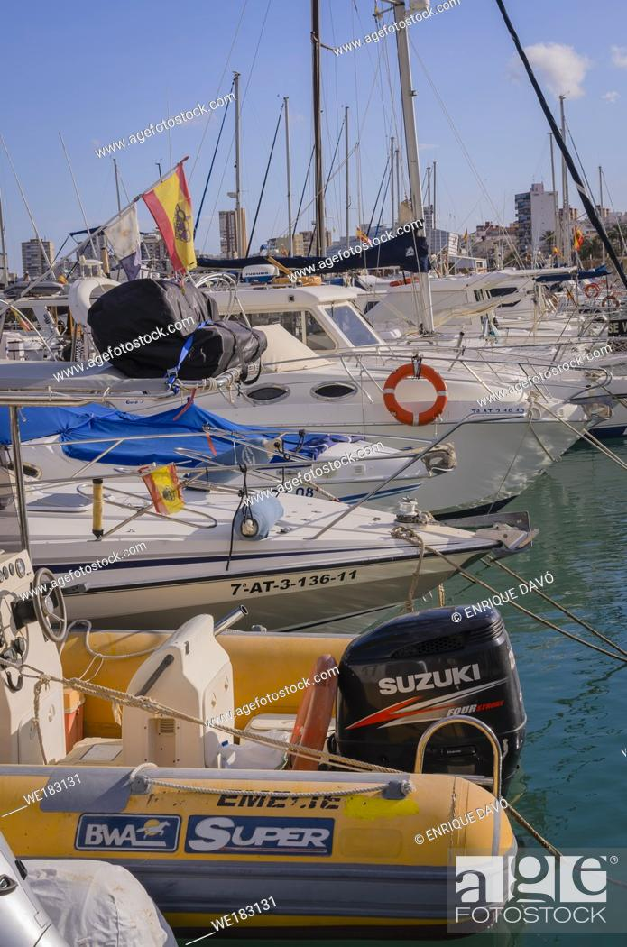 Stock Photo: View of a boats in Campello port, Alicante province, Spain.