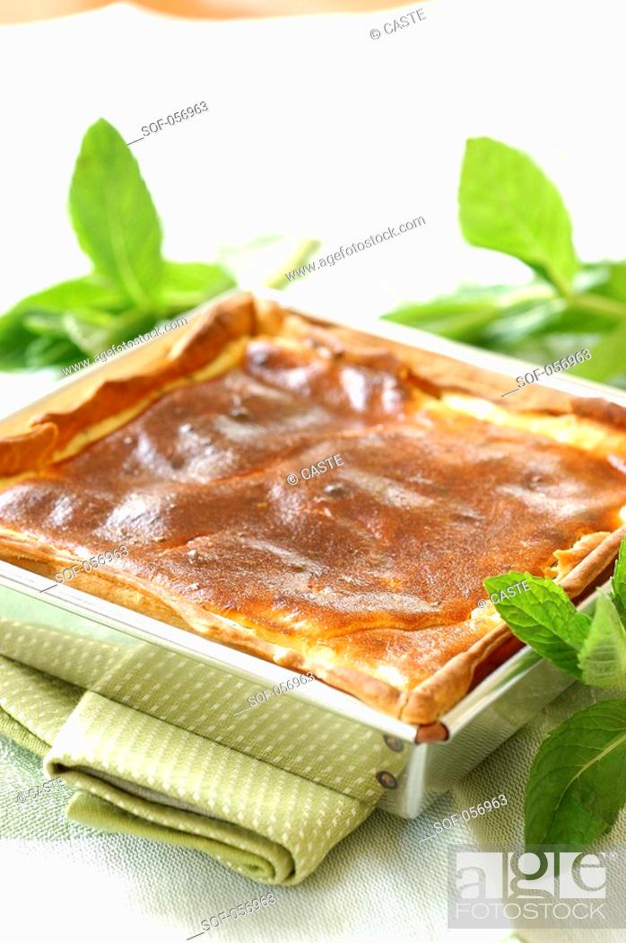 Stock Photo: goat's cheese and mint tart.