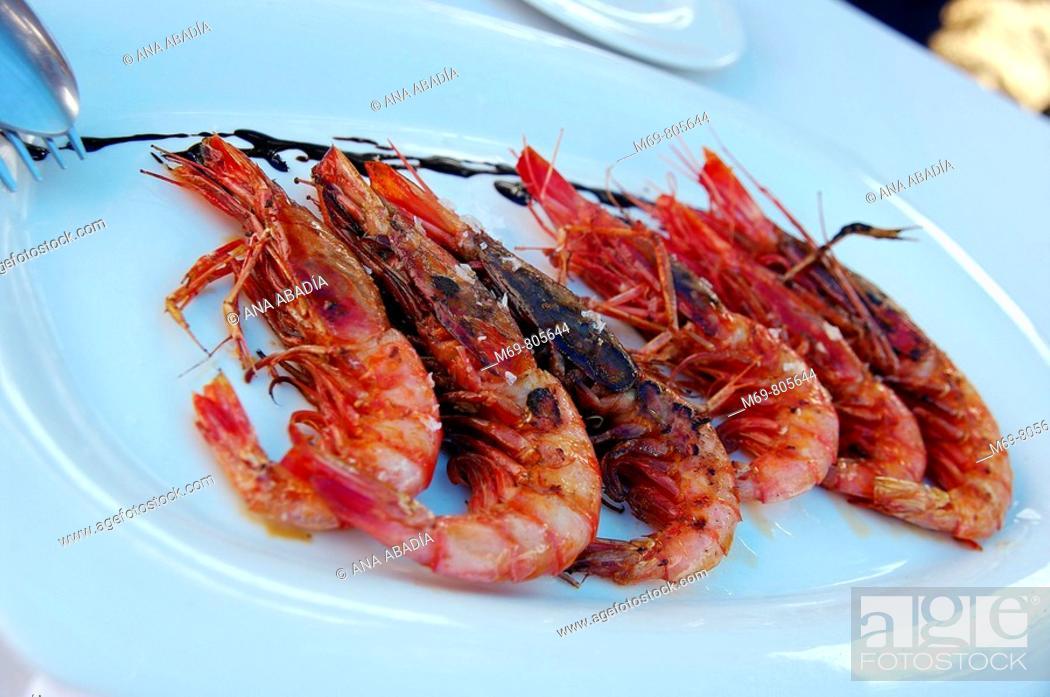 Stock Photo: Grilled prawns, Soller. Majorca, Balearic Islands, Spain.