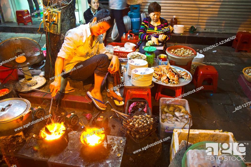 Stock Photo: Street food. Typical gastronomy.  Old City Hanoi Vietnam.