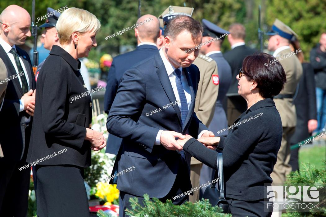Stock Photo: On 10.04.2017, the 7. anniversary of the Smolensk air crash, Polands President Andrzej Duda and his wife greet family members of the victims of the Smolensk.
