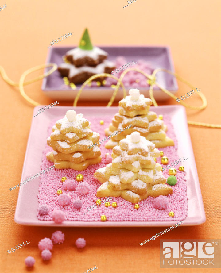 Stock Photo: Sweet pastry biscuit in shape of fir tree.