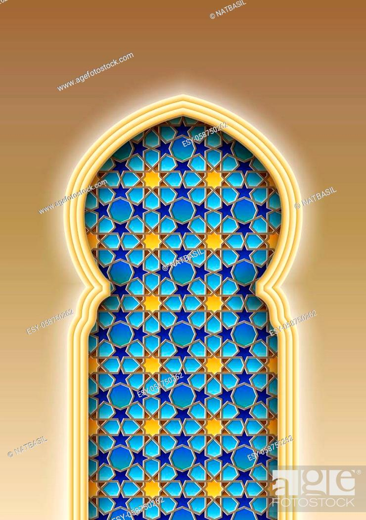 Stock Vector: Arch with traditional Arabic Islamic pattern. Vector illustration.