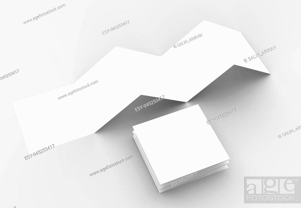 Stock Photo: 10 page leaflet, 5 panel accordion fold square brochure mock up isolated on light gray background. 3D illustrating.
