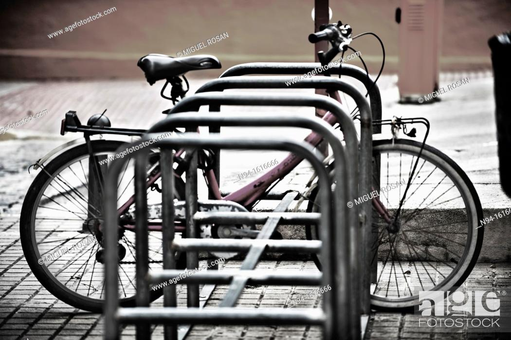 Stock Photo: Bicycle parking Along the City of Denia. Alicante. Valencia. Spain.