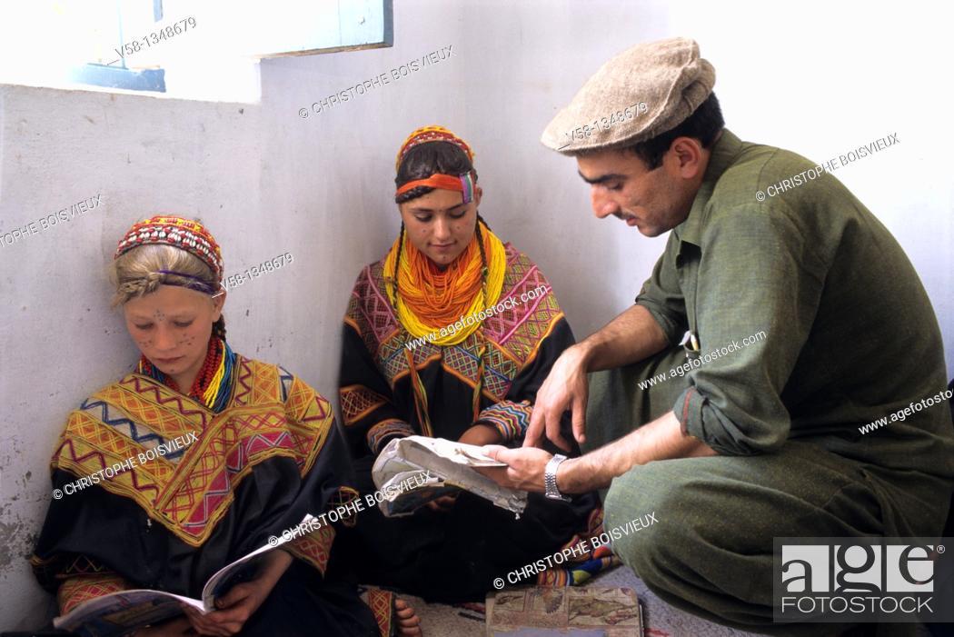 Stock Photo: Pakistan, Kalash Valleys, Bumburet valley, Anish village, Kalasha school.