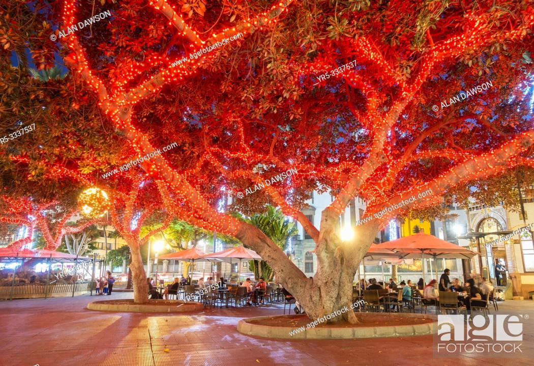 Stock Photo: Christmas lights in Parque San Telmo in Las Palmas, Gran Canaria, Canary Islands, Spain.