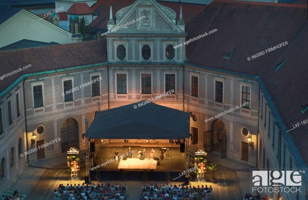 Stock Photo: Open Air Concert, Brunnenhof, Residenz, former royal Residence, Munich, Bavaria, Germany.
