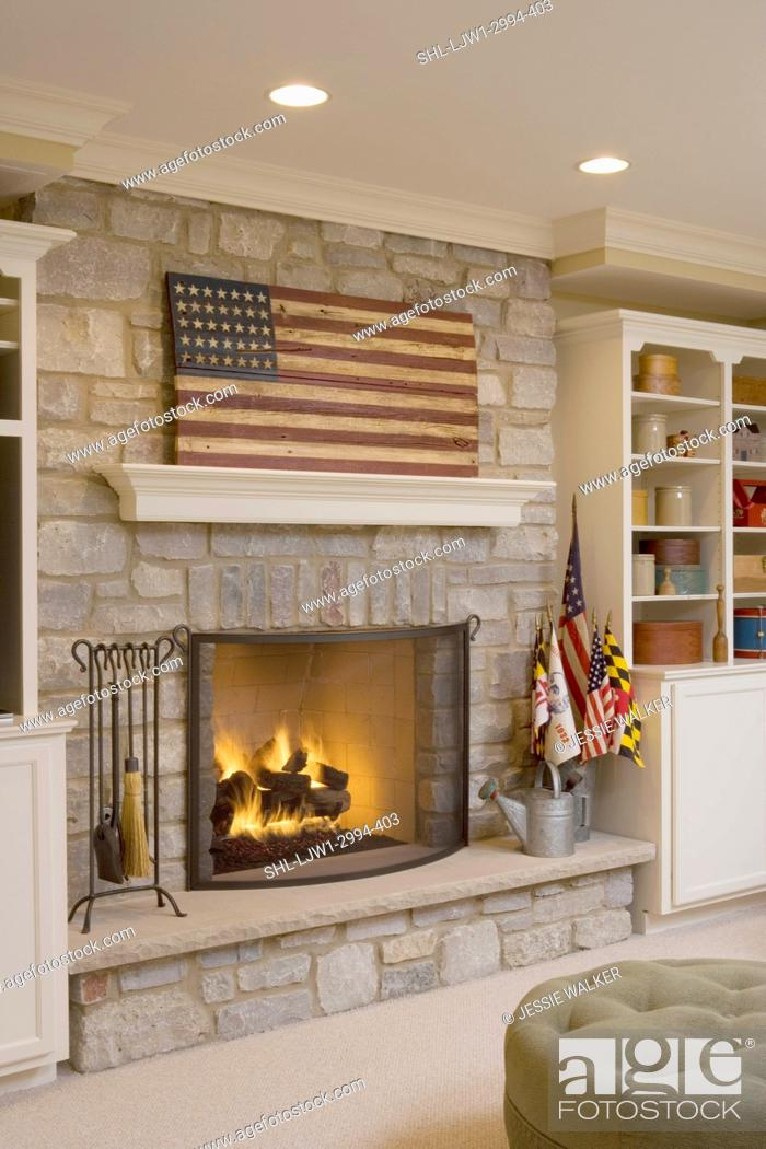 Fireplaces Contemporary Country Stone Fireplace Suspended