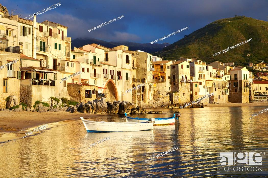 Stock Photo: Cefalu medieval houses on the seashore, Cefalu (Cefaú) Sicily, Italy.