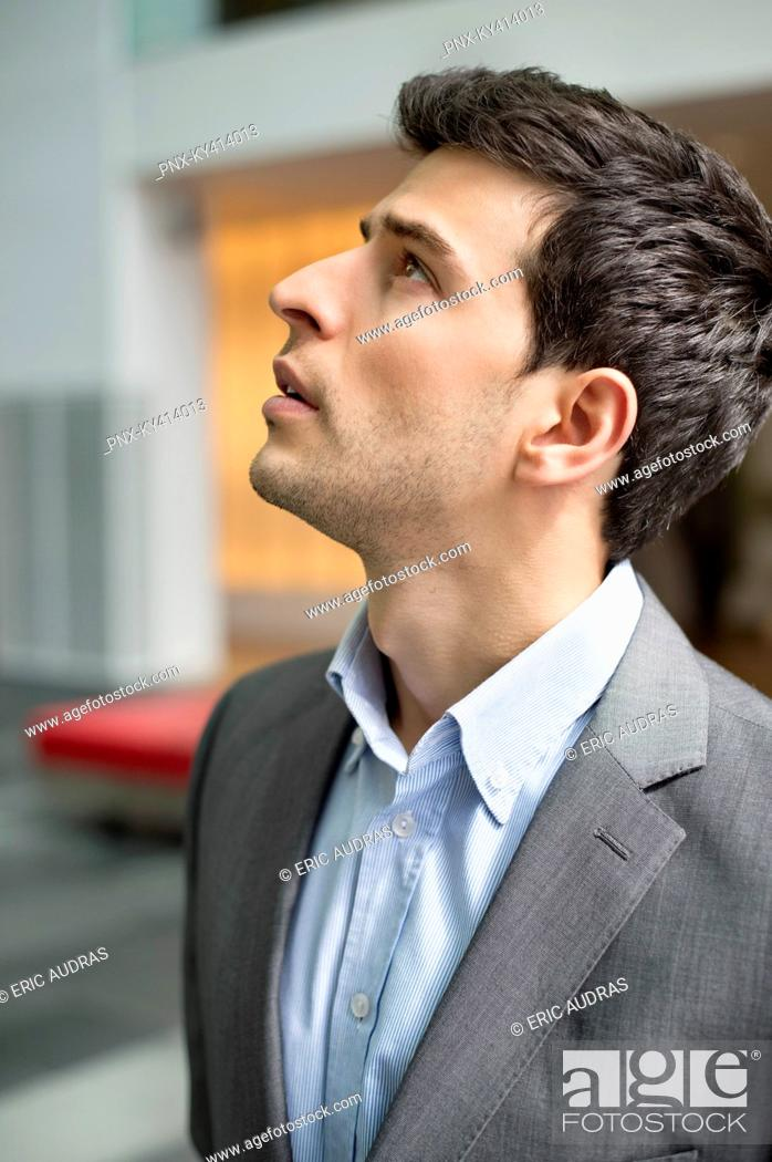 Stock Photo: Close-up of a businessman staring.