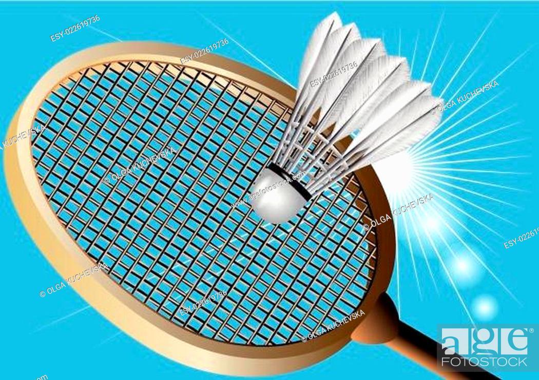 Stock Vector: badminton against the sky.