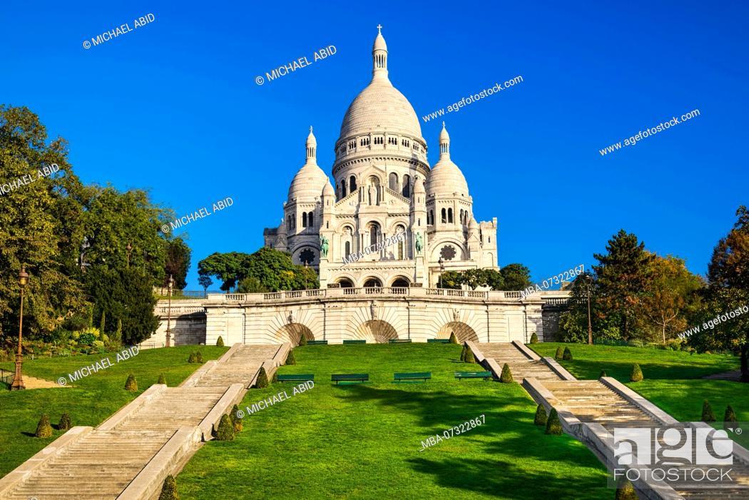 Stock Photo: Basilica Sacre Coeur in Montmartre in Paris, France.