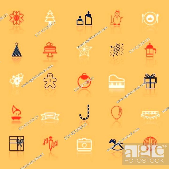 Stock Vector: New year and christmas line icons on with reflect.