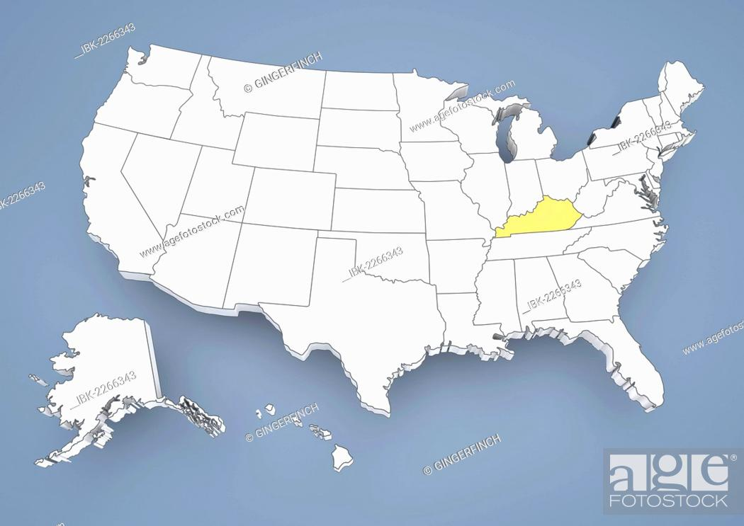 Kentucky, KY, highlighted on a contour map of USA, United States of ...