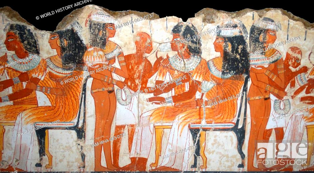 Stock Photo: Fresco from the tomb of Nebamun, Fragment of a polychrome tomb-painting showing a banquet scene. Thebes, Egypt 18th Dynasty, around 1350 BC.