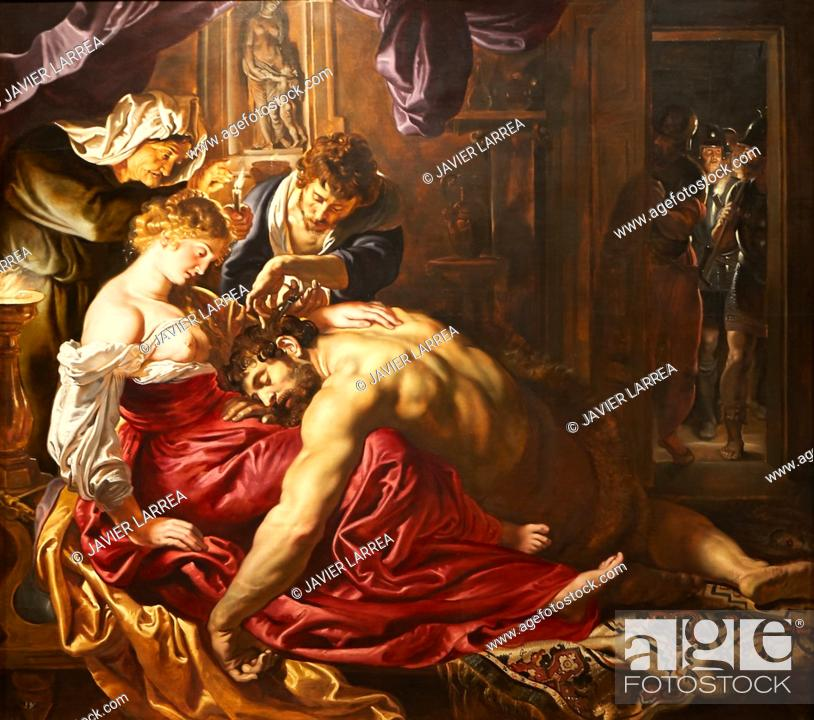 "Stock Photo: """"""Samson and Delilah"""", 1609-1610, Peter Paul Rubens, National Gallery, London, England, UK."