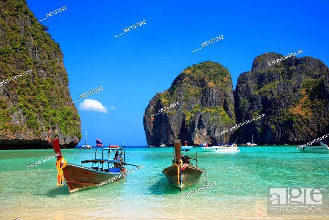 Stock Photo: Maya Bay, Ko Phi Phi Leh Island, province Krabi, Andaman Sea, Thailand.