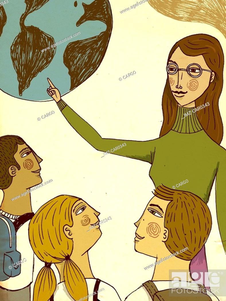 Stock Photo: A teacher talking to her students and pointing at the earth.