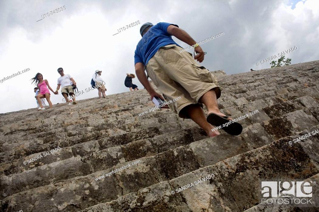 Stock Photo: Pyramid of the Magician in Pre-Columbian mayan ruins of Uxmal. Yucatan, Mexico.