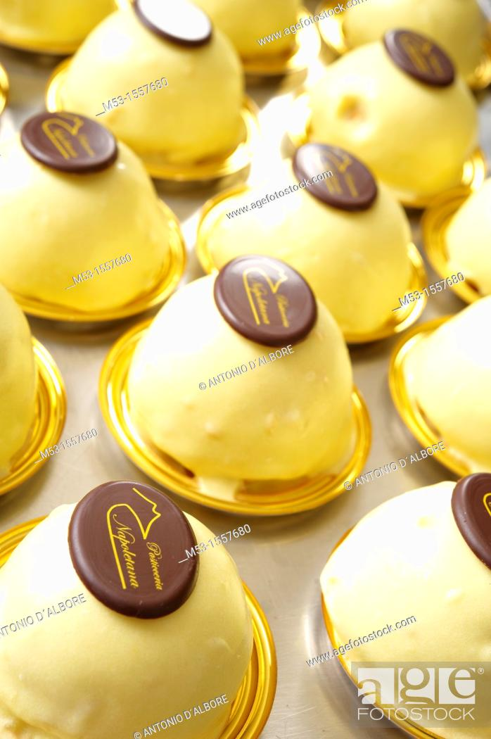 Stock Photo: italian light and wickedly sweet lemon flavoured dessert specialty locally knowns as 'delizia al limone'.