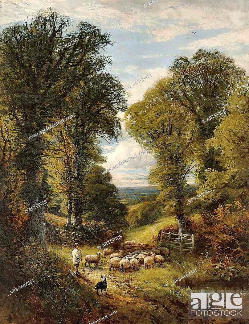Imagen: Glendening II Alfred - a Shepherd and His Flock Changing Pastures - British School - 19th Century.