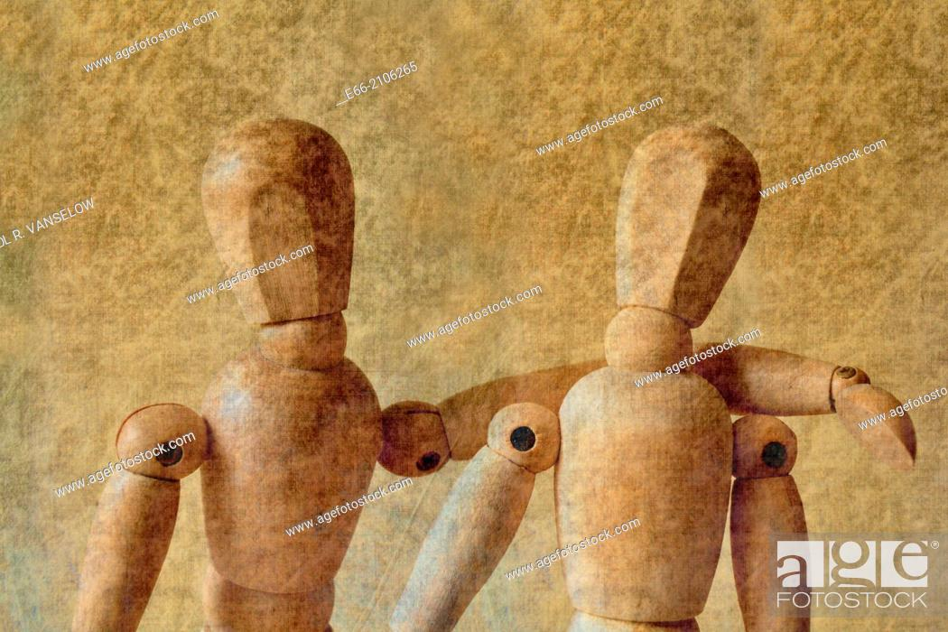 Stock Photo: Two drawing mannequins. Friends.