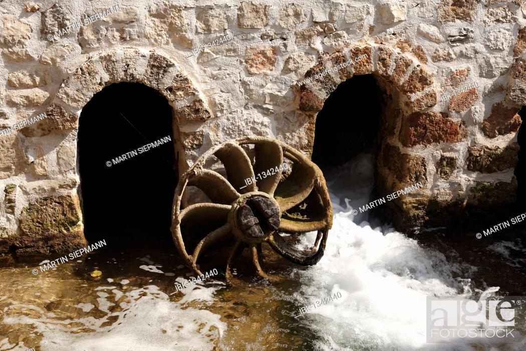 Stock Photo: Historic watermill on Roski Slap, Krka waterfalls, Krka National Park, aeibenik-Knin, Dalmatia, Croatia, Europe.