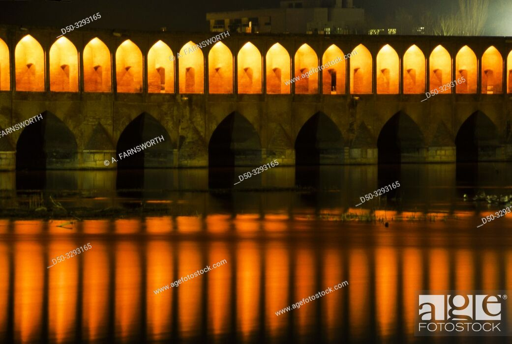 Stock Photo: Isfahan, Iran The bridge with 33 arches over the Zayande Rud river.