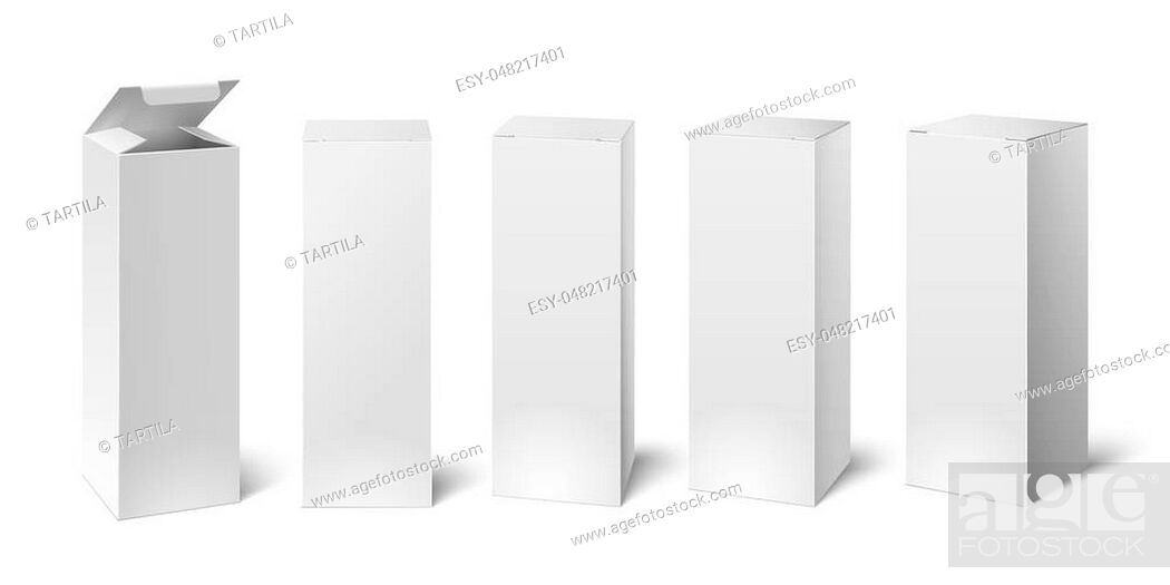 Stock Vector: High white cardboard box mockup. Set of realistic vertical tall cardboard rectangular cosmetic or medical packaging, paper boxes.