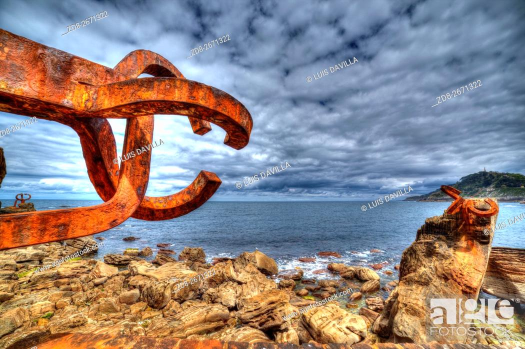 Stock Photo: comb of the wind sculture or peine del viento of eduardo chillida artist. san sebastian. spain.
