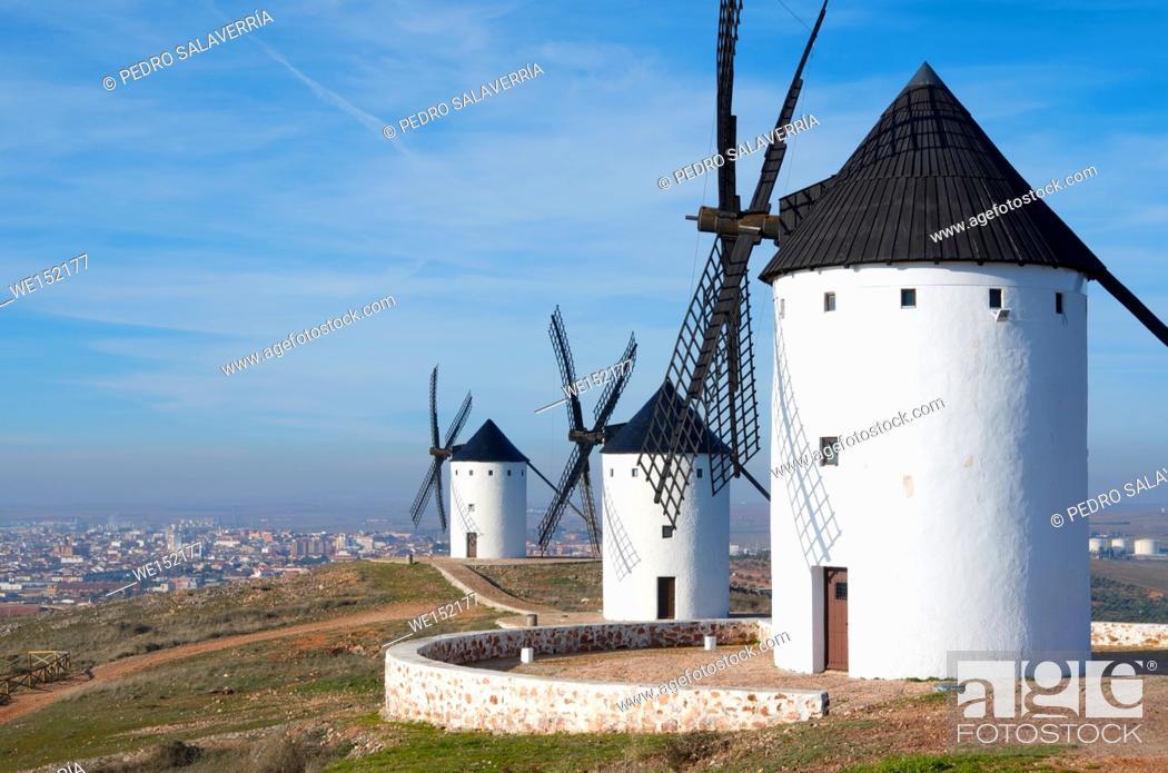 Stock Photo: group of traditional windmills in Alcazar de San Juan, Ciudad Real, Castilla La Mancha, Spain.