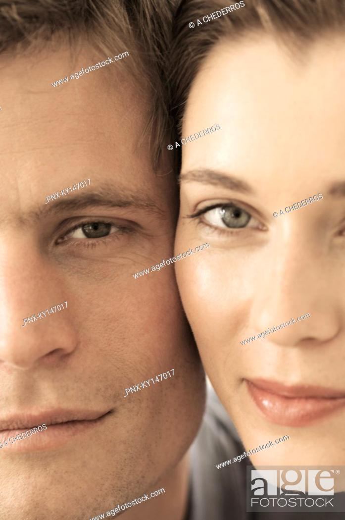 Stock Photo: Portrait of couple, cheek to cheek.